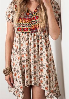 Print boho dress #swoonboutique