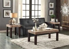 Robins Transitional Dark Cherry Faux Marble Wood Coffee Table Set