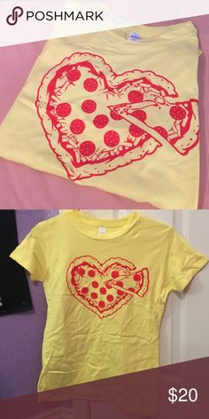 Pizza Lovers T-Shirt The perfect tee for anyone with a love for pizza. Bright yellow with a heart shaped pepperoni pizza. 🍕 Brand New and never worn or washed. PLEASE READ THE ENTIRE DESCRIPTION BEFORE PURCHASING! 🚫 NO TRADES. NO HOLDS. NO MERC@RI 🚫📩 I only respond to offers made through the offer button 📩  🙋🏼Questions? Just ask! Serious inquiries only please. EVERYTHING MUST GO!! 💁🏼 Tops Tees - Short Sleeve