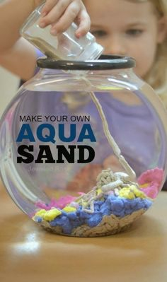 Make your own aqua sand- this stuff is SO COOL! You can build underwater castles and sea sculptures, and the sand comes out of the water DRY. (also links to other cool sand stuff like glow in the dark or sand slime) Cool Science Experiments, Science Projects, Science For Kids, Projects For Kids, Diy For Kids, Crafts For Kids, Art Projects, Sensory Activities, Sensory Play