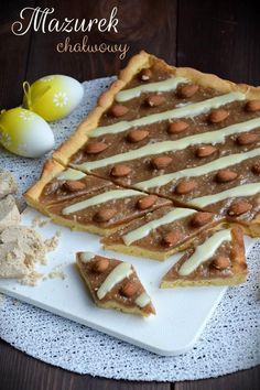 Mazurek chałwowy Calzone, Holidays And Events, Waffles, French Toast, Recipies, Easter, Baking, Breakfast, Food