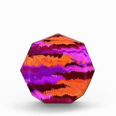 Purple and Orange Kaleidoscope Waves Acrylic Award for your office desk or bureau.