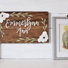 Items similar to Custom hand painted nursery baby name wooden sign with flower garland wreath on Etsy