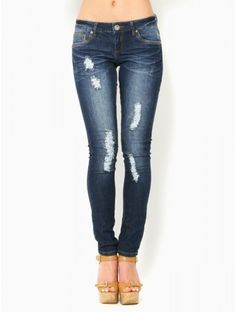 "Dark Distressed Skinny #Jeans. Do they make these with a 35"" inseam?"