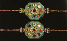 Mughal armbands set with navaratna or nine auspicious stones. These are ruby, diamond, pearl, coral, zircon, sapphire, chrysoberyl (cat's eye), yellow topaz and emerald.18th-19th century.