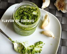 Pesto alla genovese. Traditional green pesto originating from Liguria