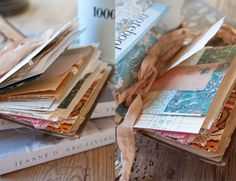 little journals made from vintage ephemera paper stacked and sewn together, add ribbon and now you have a special place to write special things down...........a beautiful keepsake!