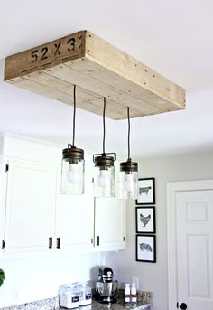 A couple puts this pallet frame on their ceiling for the coolest reason