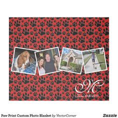 Paw Print Custom Photo Blanket