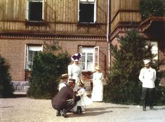 SPALA - Tsar Nicholas II, his wife Alexandra, two daughters and cousin Nicholas of Greece at Spala/Poland ca.1900