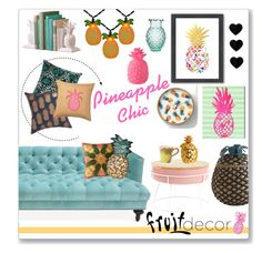 """Pineapple"" by amybaby13 ❤ liked on Polyvore featuring interior, interiors, interior design, home, home decor, interior decorating, Americanflat, Oliver Gal Artist Co., Jonathan Adler and Silken Favours"