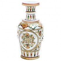 GOLD EMBOSSED MARBLE FLOWER VASE #ehandicraft #handicraft www.ehandicraft.in
