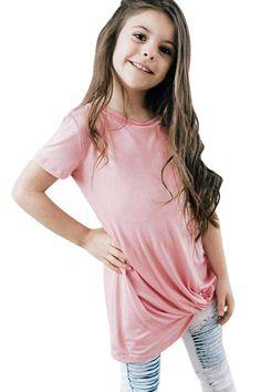 Girls Pink Short Sleeve Tops
