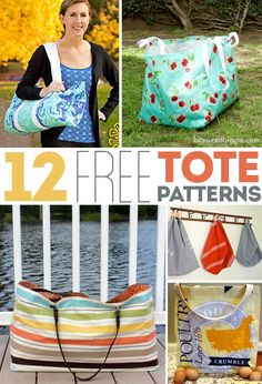 12 FREE tote bag patterns - all shapes and sizes! I love the bottom left design! Great beach / lake bag!