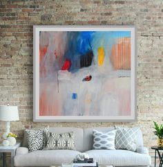 Large Abstract Canvas Art Peach Pink Blue Red by AjdinovicStudio Abstract Canvas Art, Abstract Paintings, Modern Art Paintings, Room Colors, Pink Blue, Colorful Rooms, Artist, Peach, Etsy