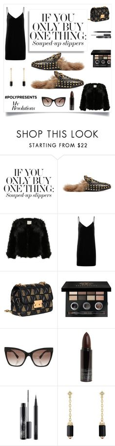 """#PolyPresents: New Year's Resolutions Buy souped up slippers"" by im-karla-with-a-k ❤ liked on Polyvore featuring Gucci, rag & bone/JEAN, MICHAEL Michael Kors, Bobbi Brown Cosmetics, MaxMara, Serge Lutens, MAC Cosmetics, David Yurman, contestentry and polyPresents"