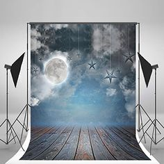 5x7ft(150x210cm) Blue Sky Photography Backgrounds Evening Star Moon Studio Backdrop Wood Floor Backdrops No Wrinkles
