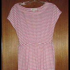 """SALE Forever 21 Pink and White Dress Sz M Cute Forever 21 (XXi) pink (salmon pink) and white striped stretchy knit short sleeve dress with belt - size Junior's Medium.  Made in China.  Has elastic waist.  In excellent, like new condition.  Measurements: Chest:  17""""  across the front Waist:  13-15""""  (elastic) across the front Hips:  19""""  across the front Total Length:  30.5"""" Forever 21 Dresses Mini"""