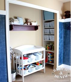 storage on the sides and putting the change table in the middle (good for small room)