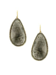 Yellow Gold Plated Labradorite Faux Diamond Asymmetric Teardrop Pierced Earrings #Jewelry #Fashion #Glamour #Fabulous #Earrings #Diamonds