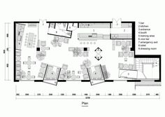 Gallery of kale café / yamo design - 12 cafe bar floor plans Cafe Floor Plan, Restaurant Floor Plan, Floor Plan Layout, Restaurant Design, Floor Plans, Modern Restaurant, The Plan, How To Plan, Layout Design