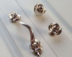 Rose Dresser Knobs Pulls Drawer Knob Pull Handles Ancient Silver Kitchen Cabinet Handles Knobs Door Handle Cupboard Furniture Hardware