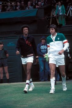 1975 - Arthur Ashe & Jimmy Connors walking onto Centre Court for the Wimbledon final.
