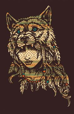 "Patterned Wolf Headdress warrior 11""x17"" glossy print, signed by Joshua Werner asfallleaves.storenvy.com"