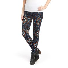 RiV Blue & Orange Geometric Leggings ($7.99) ❤ liked on Polyvore featuring pants, leggings, white stretchy pants, orange pants, long pants, geometric print leggings and white trousers