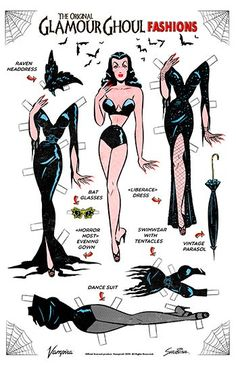Official Vampira® Retro Paper Doll art by Sveta. inch high quality poster print on heavy stock. Ready to frame! Vampira ™ All rights reserved. Halloween Kostüm, Vintage Halloween, Halloween Pumpkins, Maila, Vintage Horror, Vintage Paper Dolls, Vintage Comics, Pin Up Art, Retro Art