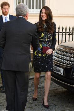 Kate brightened up a cold January day in winter florals as she arrived at the ICA in London in a £1,050 embroidered dress by Erdem - January 17, 2017 in London,