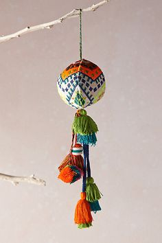 Embroidered Ferrara Ornament by Anthropologie Pom Pom Crafts, Felt Crafts, Diy And Crafts, Christmas Decorations For The Home, Holiday Ornaments, Christmas Tunes, Christmas Crafts, Xmas, Anthropologie Christmas