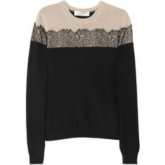 VALENTINO : Valentino Lace-appliquéd wool-blend sweate