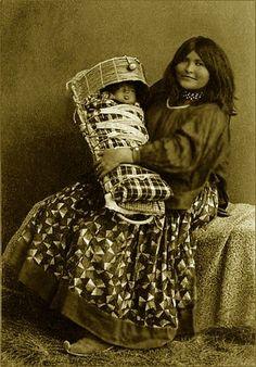"Chiricahua Apache woman and child, Baby is in a ""tsoch"" (Apache cradle), Arizona..... Cheyenne Kane"