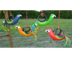 tire swing birds I've seen horses all in black, then these are way cuter. want one.