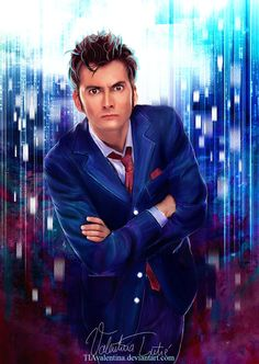 Allons-y! Fan-made artwork for David Tennant's Tenth Doctor, by TIAvalentina.