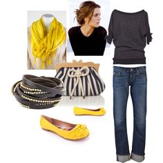 Simple dark top and purse worn w jeans w yellow scarf and shoes