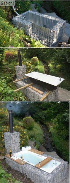 gabion outdoor bath construction by bleu. Outdoor Baths, Outdoor Bathrooms, Outdoor Tub, Outdoor Showers, Outdoor Projects, Garden Projects, Outdoor Spaces, Outdoor Living, Garden Bridge