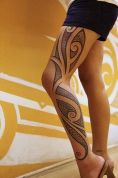 tattoo-tribal-leg - 70+ Awesome Tribal Tattoo Designs | Art and Design