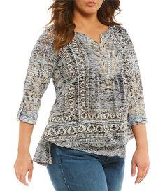 One World Apparel Plus Embellished Notch Neck Burnout RollTab Sleeve Tunic #Dillards