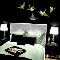 Origami Birds set of 5 - Vinyl decal Pop Wall decals Wall Sticker Art- 020