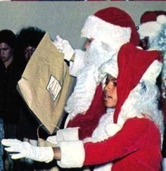 Michael Jackson handing out Christmas presents.