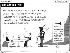 the agency bid - Tom Fishburne Relationship Cartoons, Relationship Marketing, Inbound Marketing, Business Marketing, Mobile Business, Funny Design, Design Humor, The Agency, Try Harder