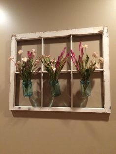 Made to order- Old window frame with hanging mason jars. Great for floral arrangements, fresh flowers or even candles. For inside or outside.