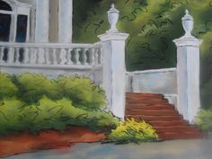 """""""11"""" an original pastel painting by Darryl d. Alello This house is located on St. Charles Ave in New Orleans, LA"""