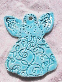 Polymer Clay OOAK Blue Guardian Angel Ornament by MermaidBeach