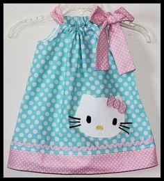 Hello Kitty Polka dot Applique dress Pink/Aqua by jhello on Etsy, $24.00