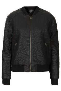 THE BEST LEATHER JACKETS: Topshop Faux Leather Croc Bomber