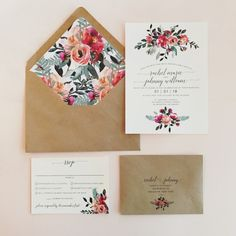This is our Maya floral watercolor wedding invitation suite! In the sample photo, we have used: matte ivory card stock | kraft brown tag | kraft brown envelopes | eucalyptus blue and grey ink (in addition to the flower colors)  PRICING BASED ON QUANTITY: **WITH LACE BAND** 35-49: $7.24 per
