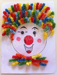 Purim Purim diy crafts for kids outdoors - Kids Crafts Kids Crafts, Clown Crafts, Circus Crafts, Summer Crafts For Kids, Diy For Kids, Diy And Crafts, Arts And Crafts, Paper Crafts, Carnival Crafts Kids